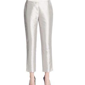 Lafayette 148 silk straight leg pant silver 2 NWT